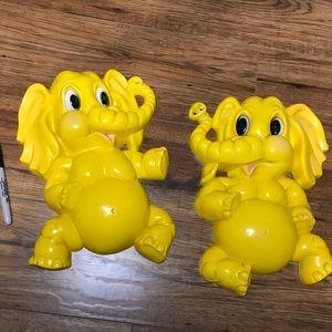 Vintage Homco plastic yellow elephant wall art